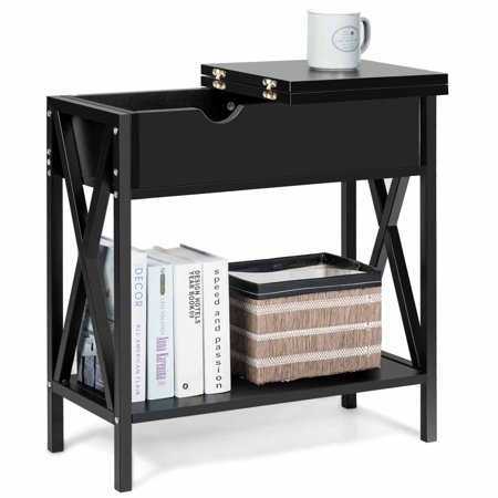 Flip Top Console Table Side Sofa Shelf and Hidden Hinged Storage End Table