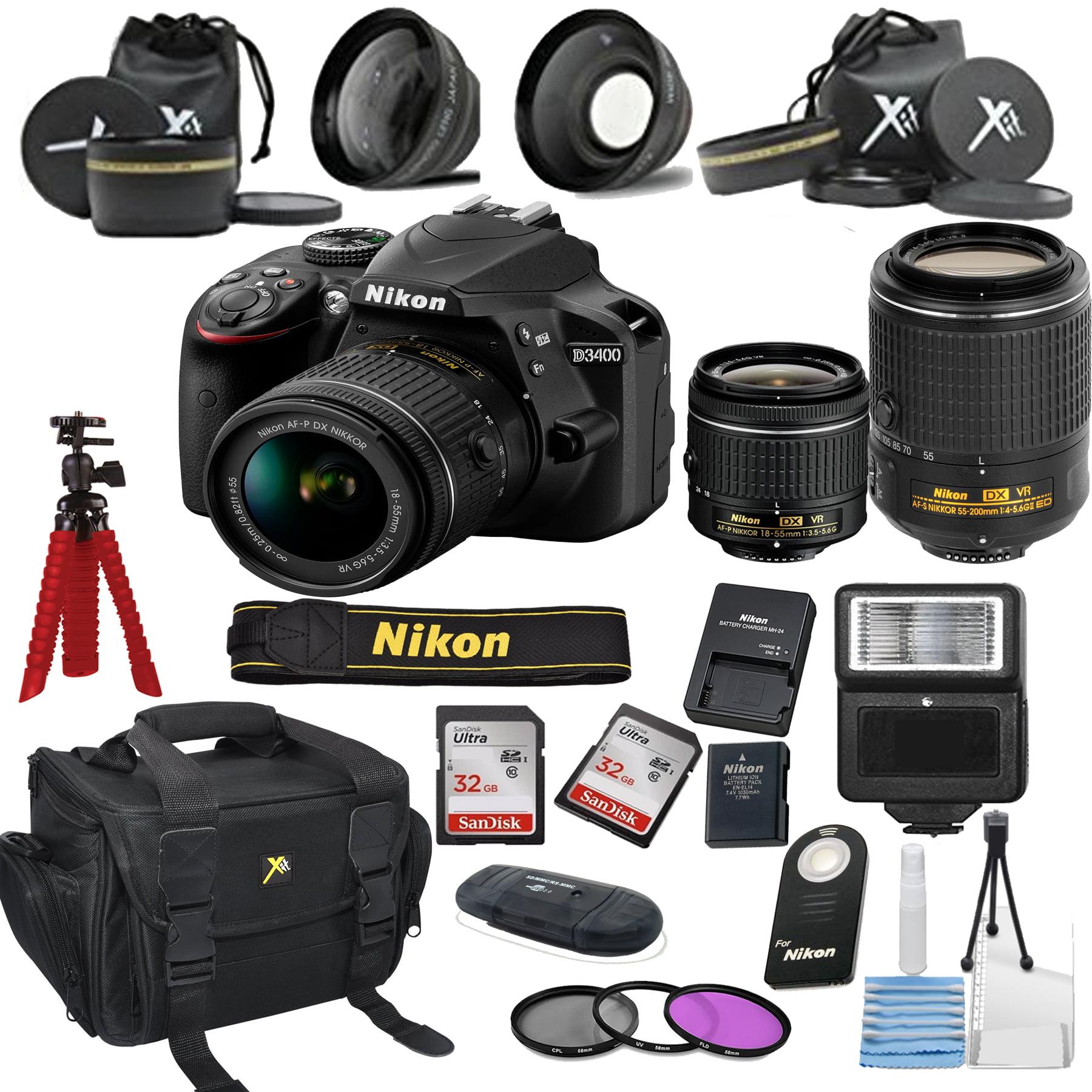 Nikon D3400 24.2 MP DSLR Camera + 18-55mm VR Lens Kit + 55-200mm VR Zoom Lens +  Accessory Bundle (Certified Refurbished)