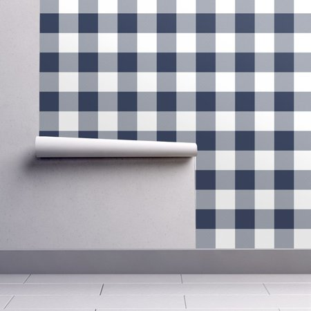 Removable Water-Activated Wallpaper Navy Buffalo Check Navy And White Plaid