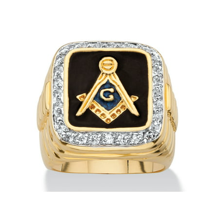 - Men's .59 TCW Square Enamel and Cubic Zirconia 14k Yellow Gold-Plated Masonic Ring