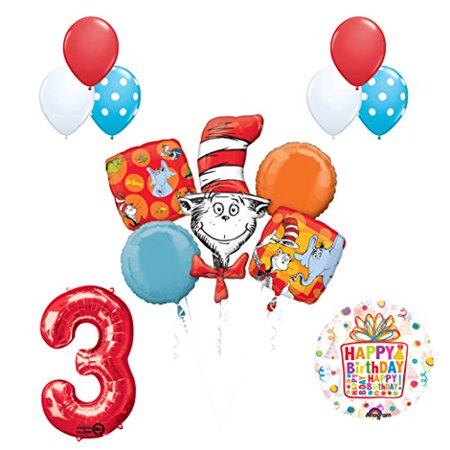 13 pc Dr Seuss Cat in the Hat 3rd Birthday Party Balloon Supplies and Decorat...](Cat In The Hat Birthday Decorations)