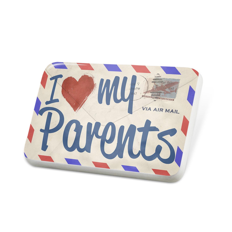 Porcelein Pin I Love my Parents, Vintage Letter Lapel Badge – NEONBLOND