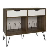 Novogratz Concord Turntable Stand with Drawers, Brown Oak