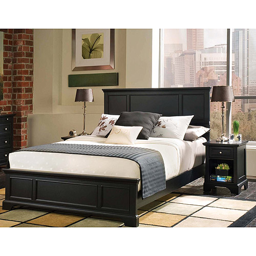 Bedford 2-Piece Bedroom Set Complete Queen Bed and Night Stand, Ebony by Home Styles