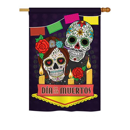 Ornament Collection - Dia de los Muertos Fall - Seasonal Halloween Impressions Decorative Vertical House Flag 28