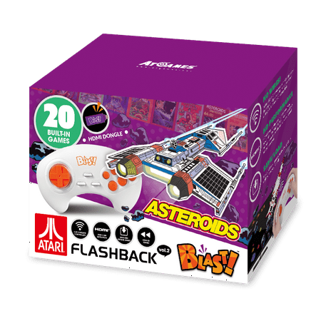 Atari Flashback Blast! Vol. 2, Asteroids, Retro Gaming, Purple, 818858029544