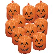 10 plastic halloween pumpkin leaf bags yard decorations - Plastic Pumpkins