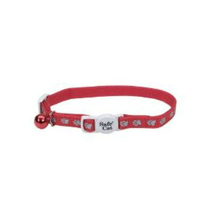 Cat Safe Reflective Adjustable Collar - Safe Cat Reflective Adjustable Cat Collar - Paws Red For Necks 8-12 - (3/8 Wide)