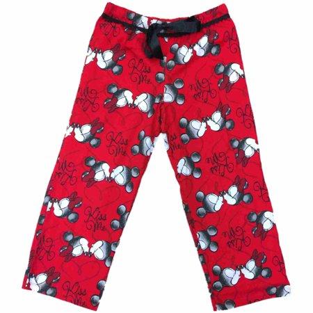Womens Red Mickey & Minnie Kiss Me Sleep Pants Valentine Capri Pajama Bottoms S - Valentines Pajamas