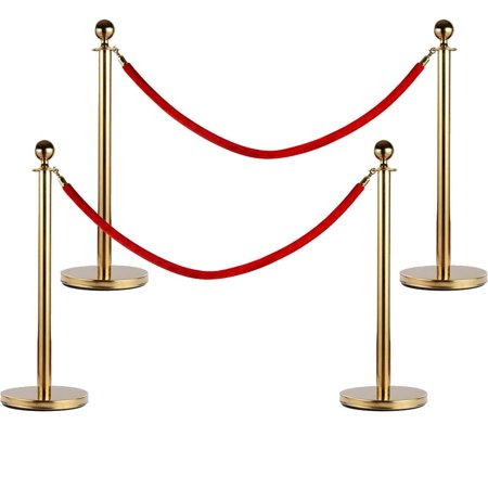 Ktaxon 4 Pcs Velvet Rope Stanchion Gold Color Plated Post Crowd Control Queue Pole (Crowd Control Warehouse)