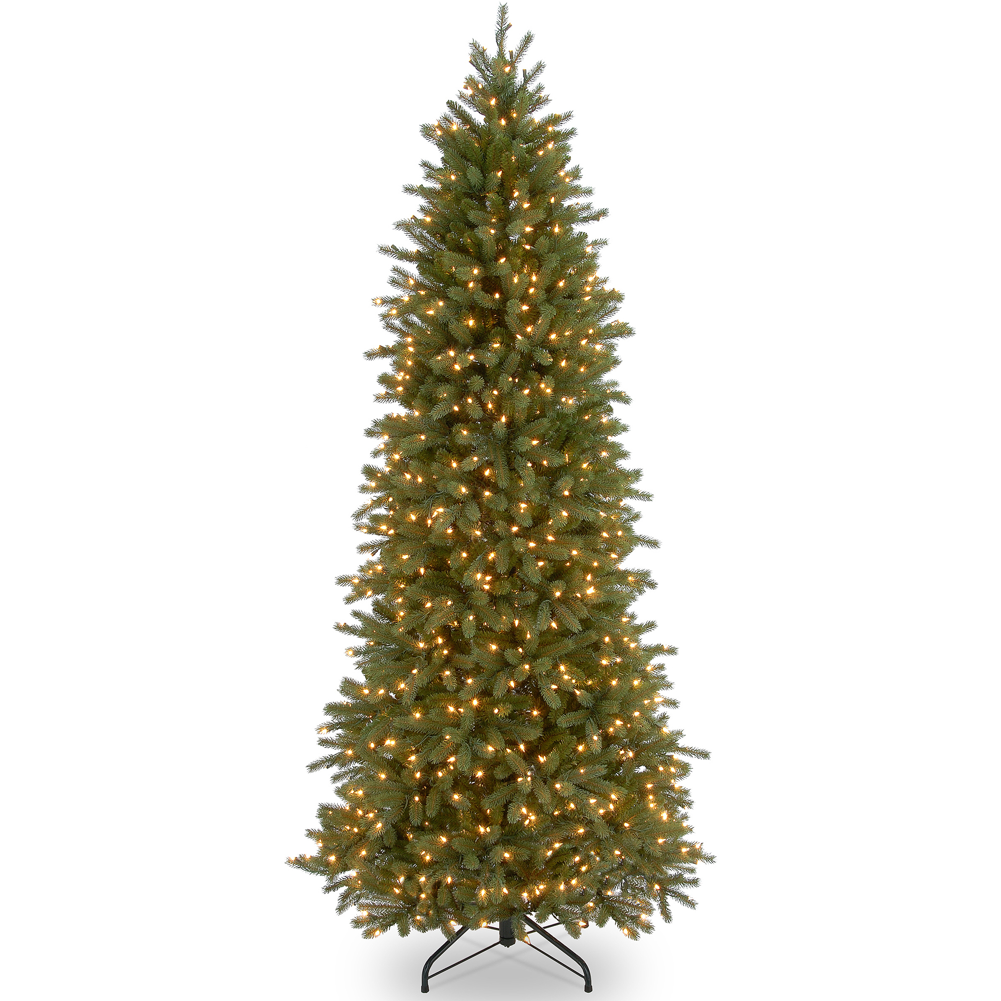 "National Tree Pre-Lit 7-1/2' ""Feel-Real"" Jersey Fraser Pencil Slim Fir Hinged Artificial Christmas Tree with 650 Clear Lights"