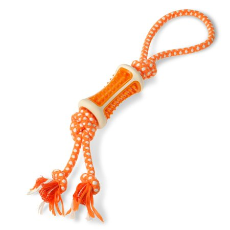 "Fluffy Paws Rubber Combo Dental Bone Pet Dog Chew Toy and Tug Rope - Orange/White (17.7"" x 3.9"" x 2"")"