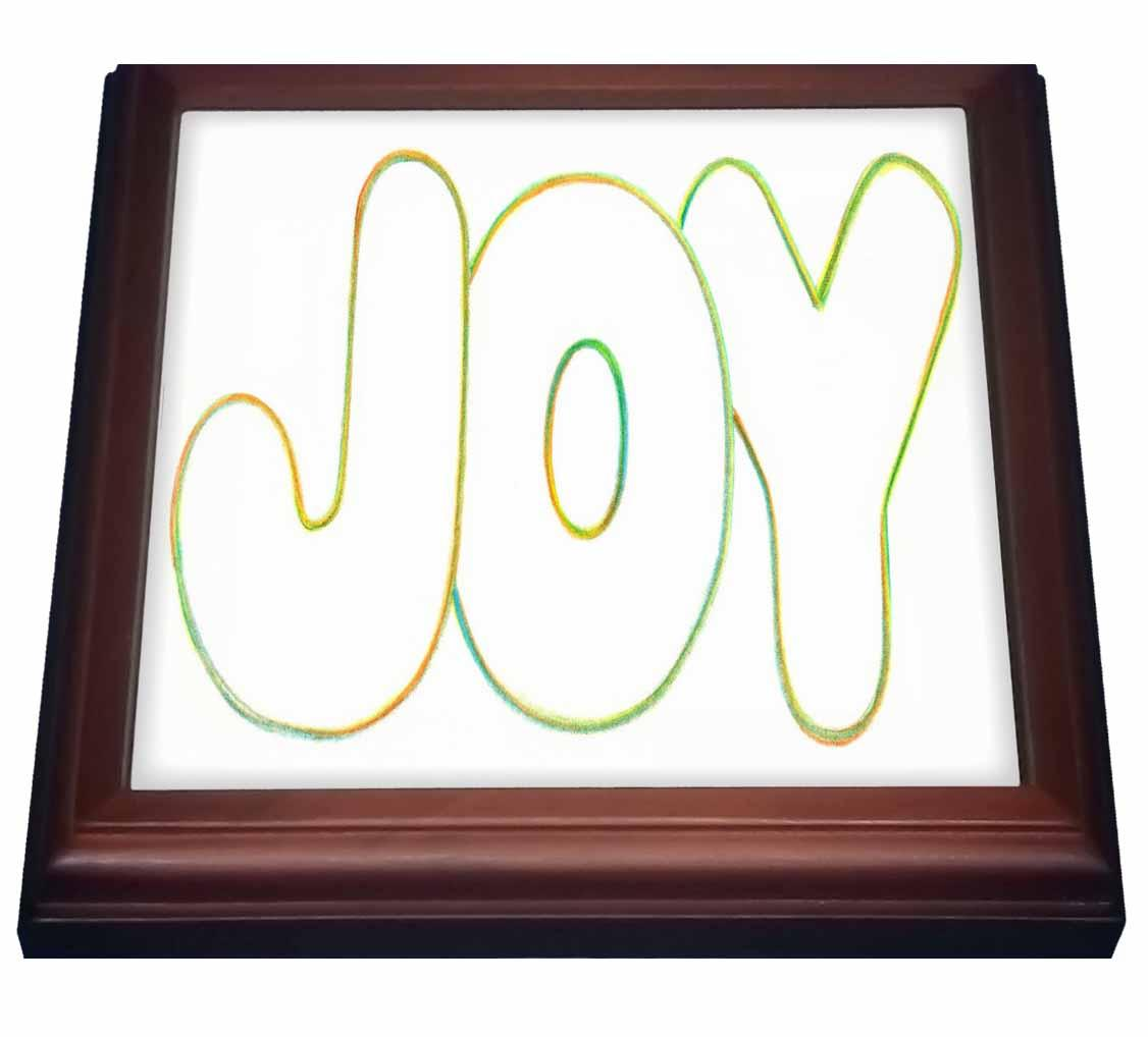 3dRose Colorful outline of word Joy, Trivet with Ceramic Tile, 8 by 8-inch