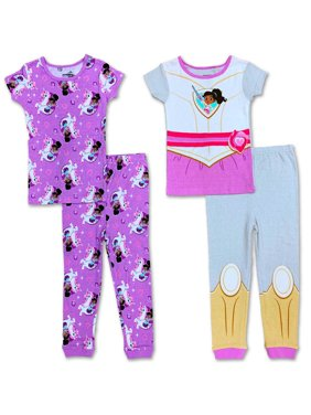 Nella The Princess Knight Girls Pajama Short Sleeve Top and Long Pants Sets Pack of 4, Nella, Size: 3T