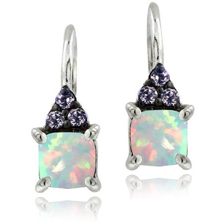 Sterling Silver Created Opal and Amethyst Leverback Earrings Created Opal Leverback Earrings