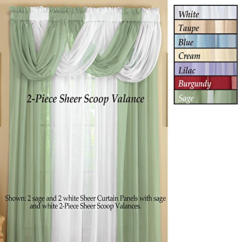 Collections Etc Sheer Scoop Valance Curtains 2 pc by Collections Etc