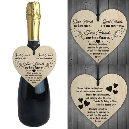 Girl12Queen 2Pcs Wooden Heart Letter Wine Bottle Hanging Pendant Plaque  Tags Card Sign Decor