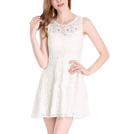 cf122948d159 Women Sleeveless Semi Sheer Yoke Floral Lace Mini Flare Dress - image 1 of  1 ...