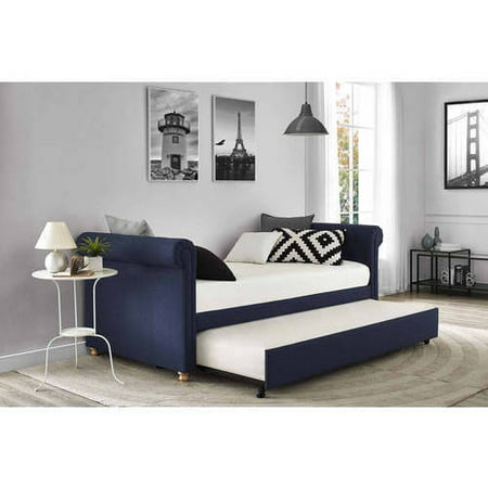 Sophia Upholstered Daybed Trundle, Twin, Navy - Sophia Upholstered Daybed Trundle, Twin, Navy - Walmart.com