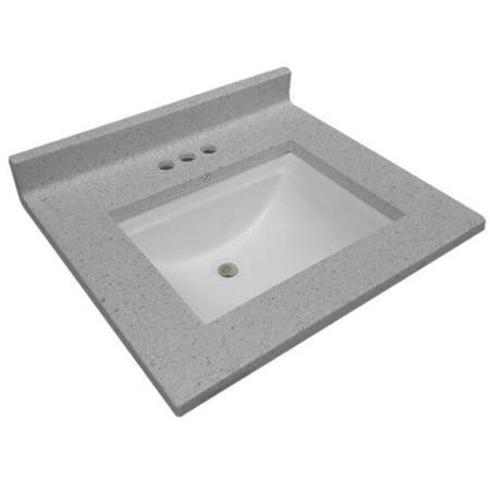 Design House 563528 Cultured Marble Single Wave Bowl Vanity Top 25 x 22, Frost - image 1 de 1
