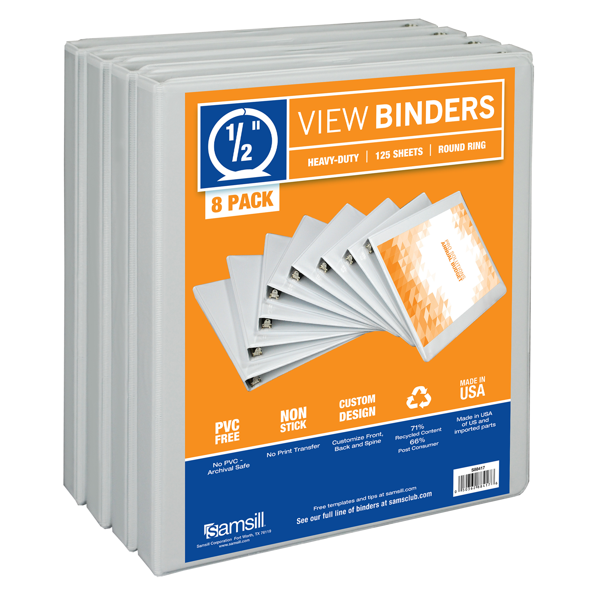 Samsill Durable 3 Ring View Binder, Non-Stick Customizable Clear View Cover, Half Inch Round Ring, White, 8 Pack