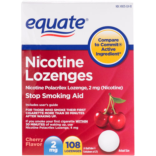 Equate Stop Smoking Aid Nicotine Lozenge 2mg, Cherry, 108 Pieces