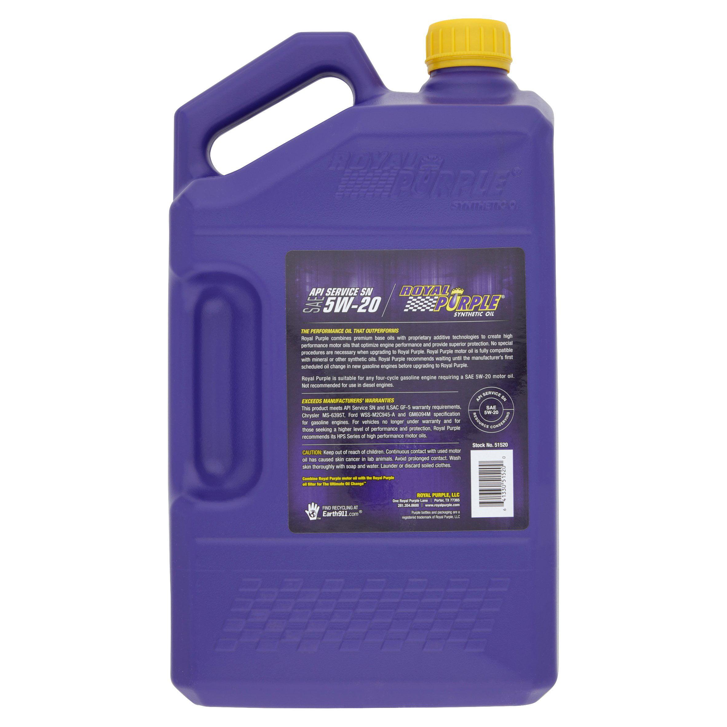 Royal Purple SAE 5W 20 Synthetic Oil 5 Qt