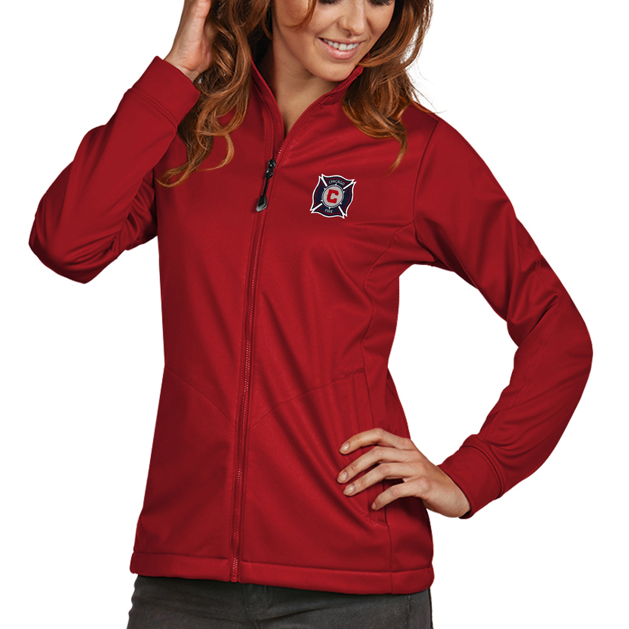 Chicago Fire Antigua Women's Golf Full Zip Jacket - Red