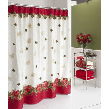 Lenox Holiday Poinsettia Tartan Christmas Shower Curtain