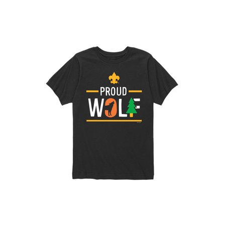 Boys Wolf (Boy Scouts of America Icon Wolf Cub Scout - Youth Short Sleeve Tee )