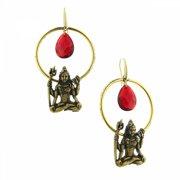 T.R.U. Siam Red Hoop Drop Goddess Earrings