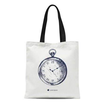 ASHLEIGH Canvas Tote Bag Old Vintage Pocket Watch Tattoo Engraving Stopwatch Antique Clock Durable Reusable Shopping Shoulder Grocery Bag