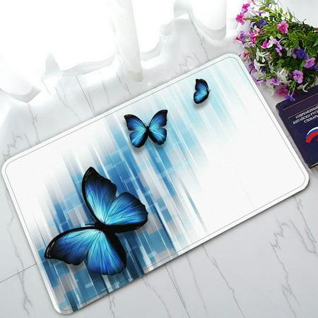 Blue Floor Mat (PHFZK Abstract Doormat, Three Blue Butterflies Doormat Outdoors/Indoor Doormat Home Floor Mats Rugs Size 30x18 inches )