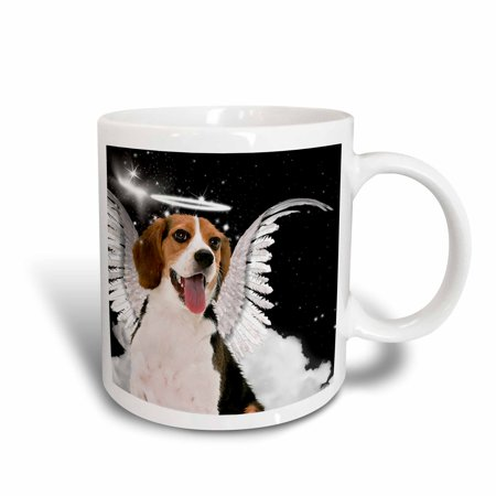 Halo And Angel Wings (3dRose Beagle Angel Dog with clouds, a cute Halo and Angel Wings, Ceramic Mug,)