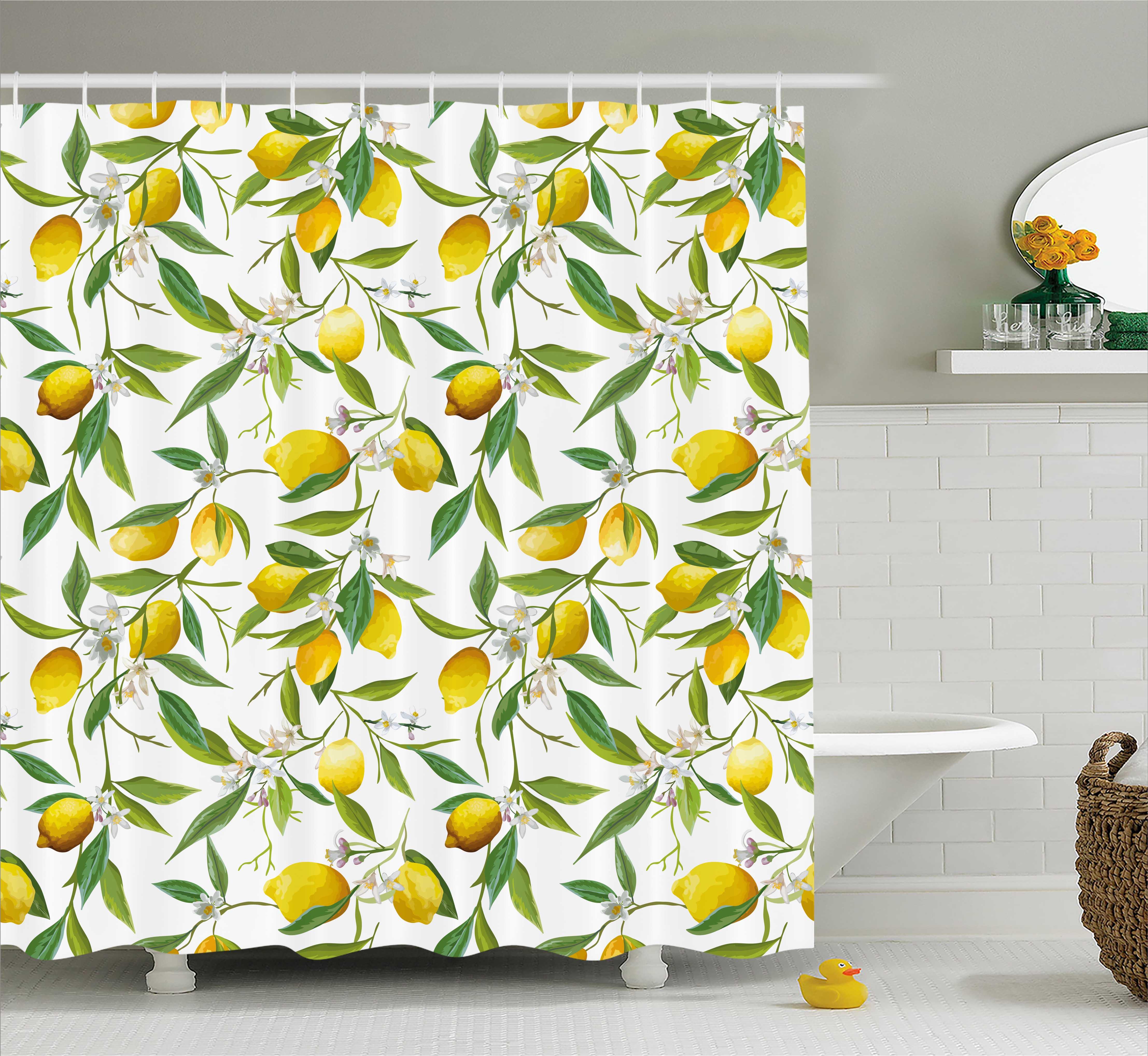 Nature Shower Curtain Flowering Lemon Woody Plant Romance Habitat Citrus Fresh Background Fabric Bathroom Set With Hooks Fern Green Yellow White