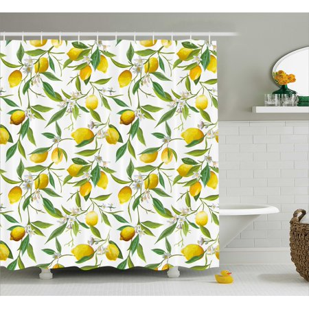 Bath Habitat Set (Nature Shower Curtain, Flowering Lemon Woody Plant Romance Habitat Citrus Fresh Background, Fabric Bathroom Set with Hooks, Fern Green Yellow White, by Ambesonne)