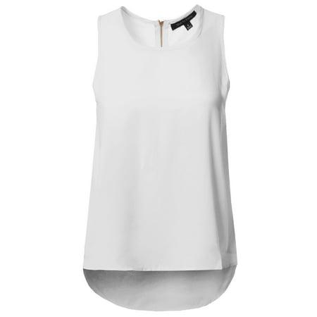 0d834f53f0a5 FashionOutfit - FashionOutfit Women's Round Neck Zipper Back Closure High  Low Hem Sleeveless Blouse - Walmart.com