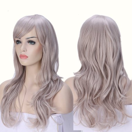 2-5 Days Delivery Unisex Japanese Anime Cosplay Wigs Synthetic Long Curly Big Wave Full Party Costume Wig Layered with Bangs and Cap Halloween Wigs for Women (24