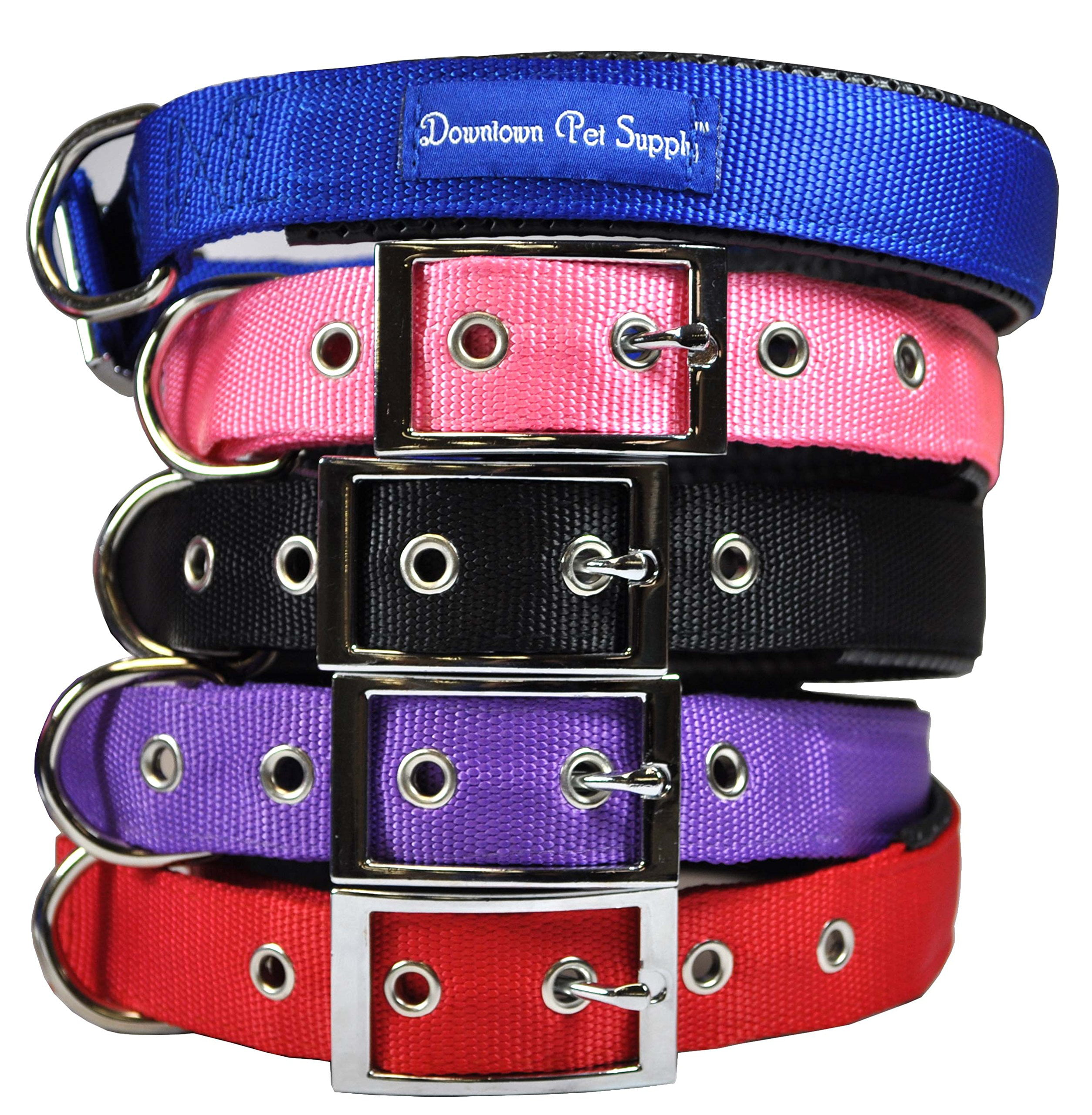 Deluxe Adjustable Thick Comfort Padded Dog Collar by Downtown Pet Supply by Downtown Pet Supply