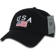 RapDom USA Flag Graphic Relaxed Mens Cap [Black - Adjustable]