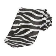 Trendy Skinny Tie - Regular White and Black Zebra Print