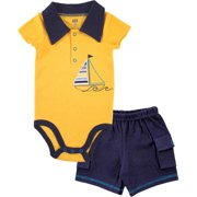 Hudson Baby Boy Bodysuit and Cargo Shorts 2pc Outfit Set
