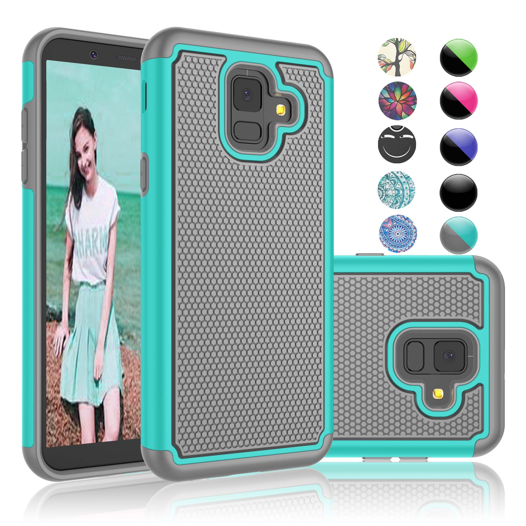 new concept d48f4 295fa Galaxy A6 Case, Samsung A6 Cover, Sturdy Case For Samsung Galaxy A6 2018,  Njjex Shock Absorbing Dual Layer Silicone & Plastic Bumper Rugged Grip Hard  ...