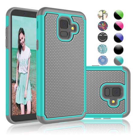 new concept d86d2 90eb3 Galaxy A6 Case, Samsung A6 Cover, Sturdy Case For Samsung Galaxy A6 2018,  Njjex Shock Absorbing Dual Layer Silicone & Plastic Bumper Rugged Grip Hard  ...