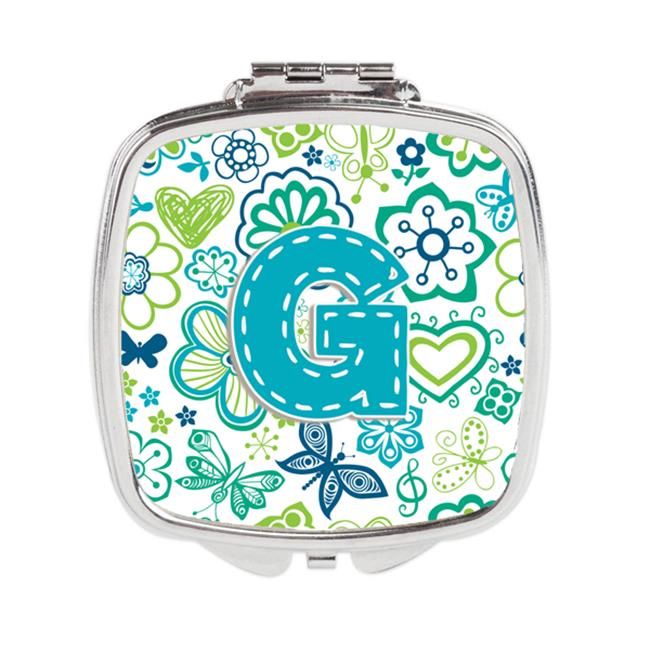 Carolines Treasures CJ2006-GSCM Letter G Flowers & Butterflies Teal Blue Compact Mirror