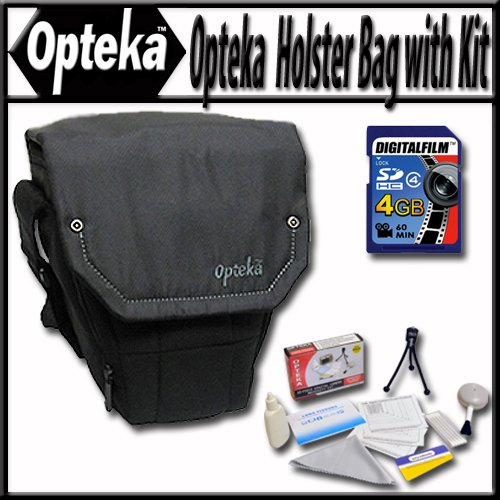 Opteka Ultra soft light weight padded SLR, DSLR Camera holster bag for short to mid-range lenses with 4GB Memory Card and Reader and More!