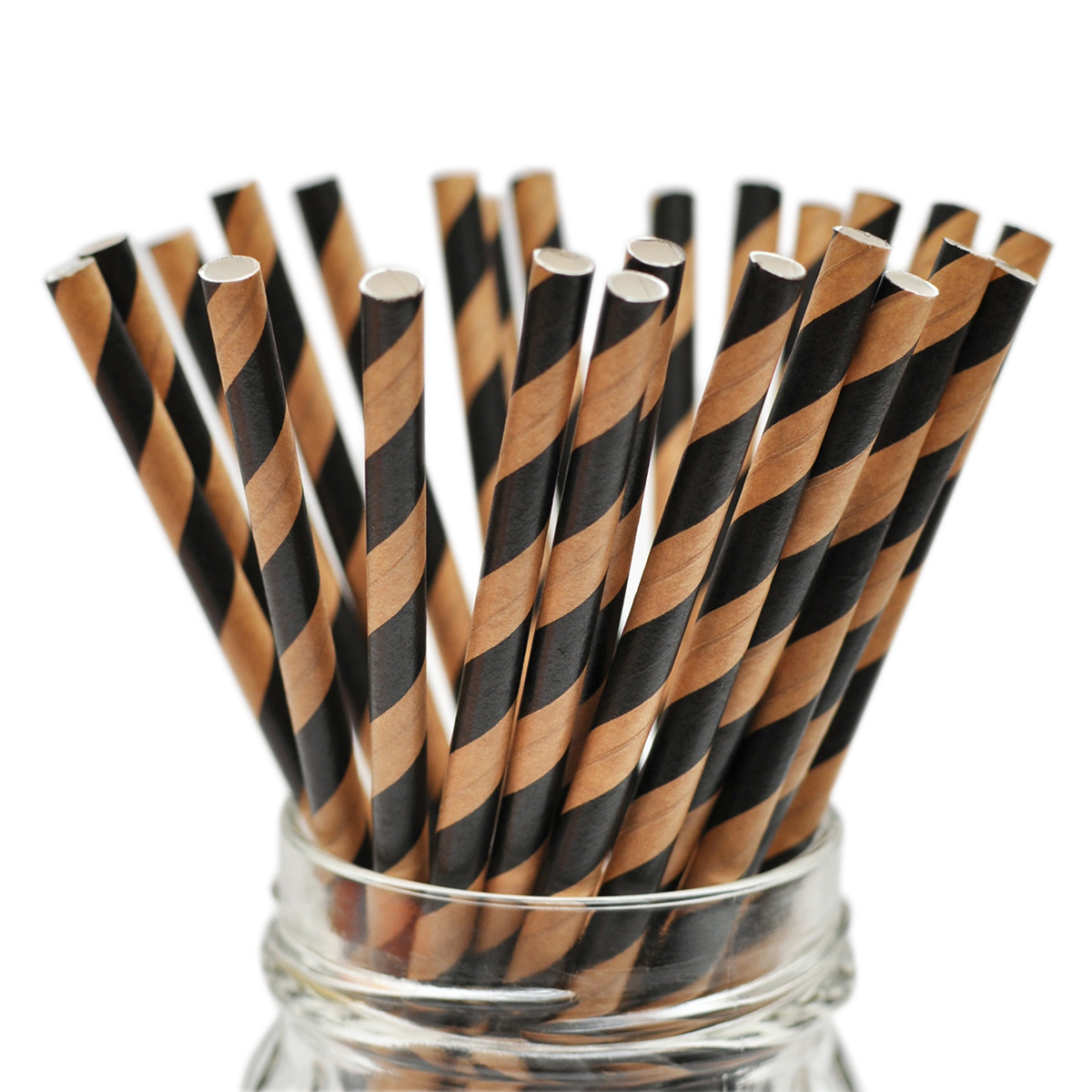 "Stylish Stix Paper Straws .25""X7.75"" 25/Pkg-Kraft Black & Tan Stripes"