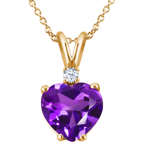 1.68 Ct Heart Shape Purple Amethyst White Topaz 14K Yellow Gold Pendant