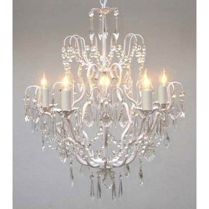 Wrought Iron Crystal Chandelier Chandeliers Lighting H27 X W21 Swag Plug In
