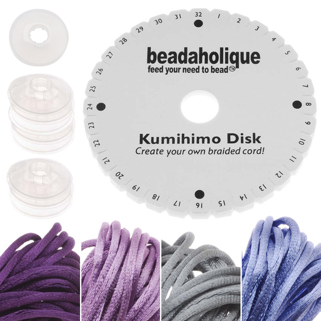 Kumihimo Braiding Kit 'Purple Mix'- Round Disc / Bobbins / 4 Color Satin 1mm Cord